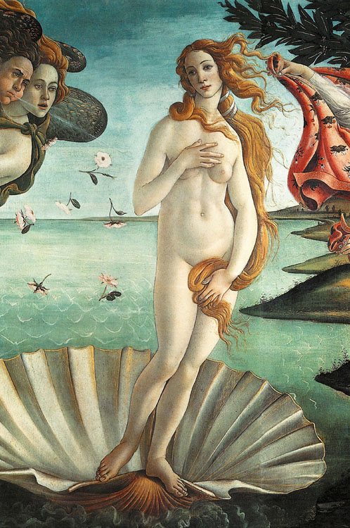 The Birth of Venus' 1486: painting by the Italian Renaissance painter Sandro Botticelli c. 1445 – 1510. It depicts the goddess Venus, having emerged from the sea as a full grown woman, arriving at the sea-shore.